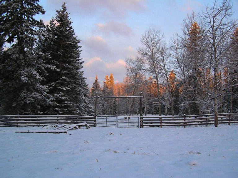 Winter dawn touches the ranch.
